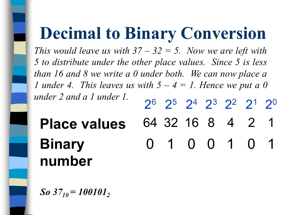 Decimal to Binary Conversion Since 37 is less than 64 we write a 0 under the 64.