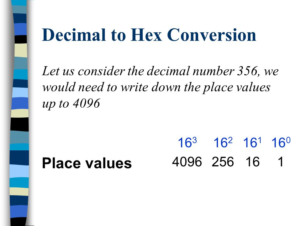 Decimal to Hex Conversion An alternative method is to use the place values.