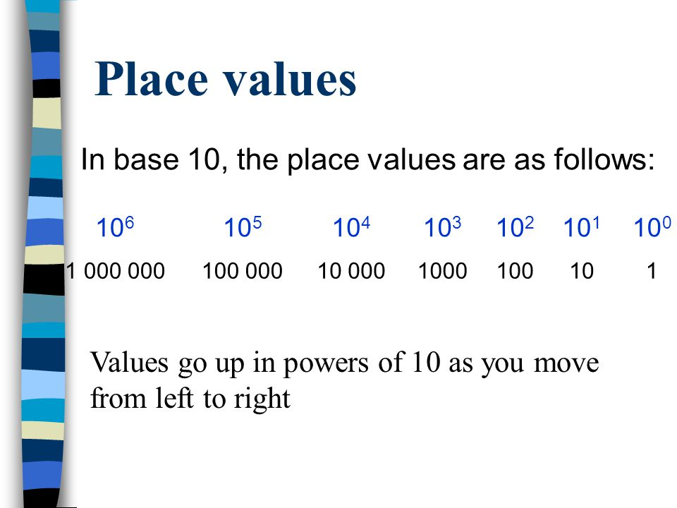 Place values The position of each number within a series of numbers is very important The position of the number determines how large it is All number bases have their place values