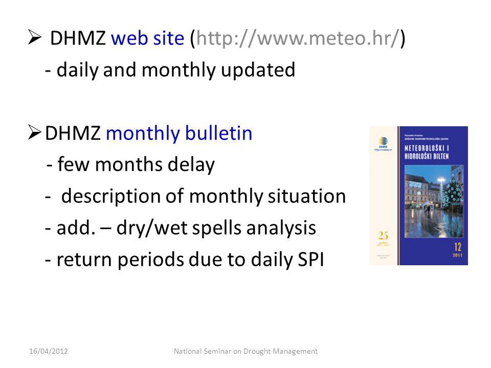 observedECMWF forecast 21 days9 days SPI 30d 28 days SPI 28d 1 month SPI 1 2 months 1 month SPI 3 National Seminar on Drought Management16/04/2012