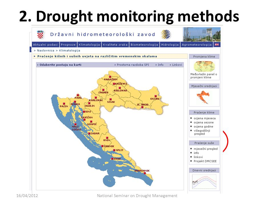 2. Drought monitoring methods National Seminar on Drought Management16/04/2012