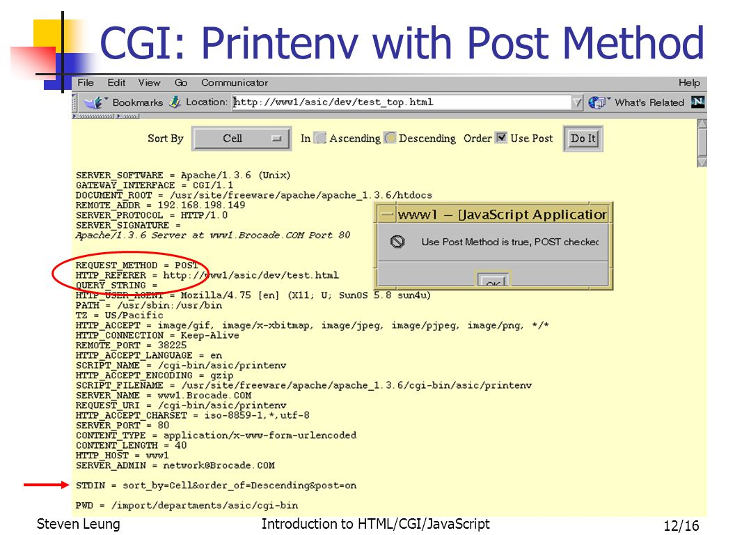 12/16 Steven Leung Introduction to HTML/CGI/JavaScript CGI: Printenv with Post Method
