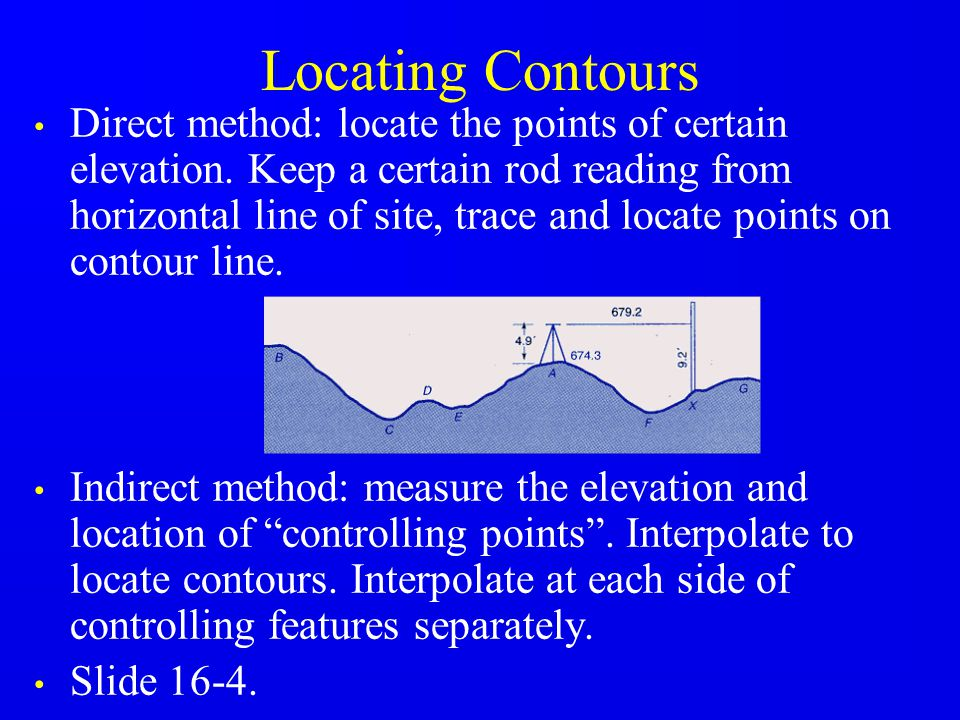Locating Contours Direct method: locate the points of certain elevation. Keep a certain rod reading from horizontal line of site, trace and locate poi