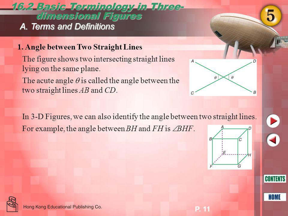 P.11 16.2 Basic Terminology in Three- dimensional Figures dimensional Figures A.