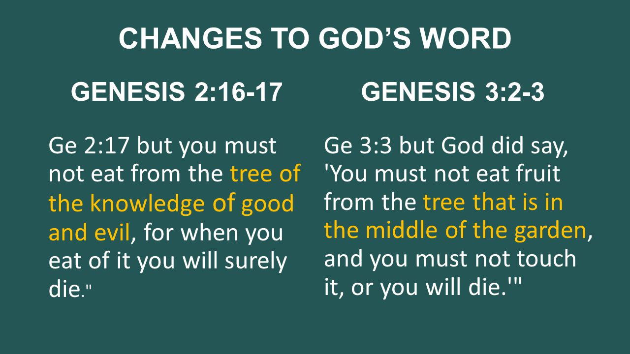 CHANGES TO GOD'S WORD GENESIS 2:16-17 Ge 2:17 but you must not eat from the tree of the knowledge of good and evil, for when you eat of it you will surely die. GENESIS 3:2-3 Ge 3:3 but God did say, You must not eat fruit from the tree that is in the middle of the garden, and you must not touch it, or you will die.