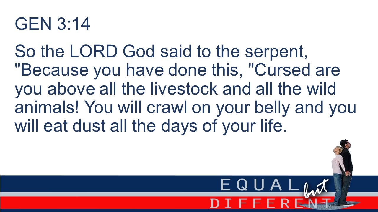 GEN 3:14 So the LORD God said to the serpent,