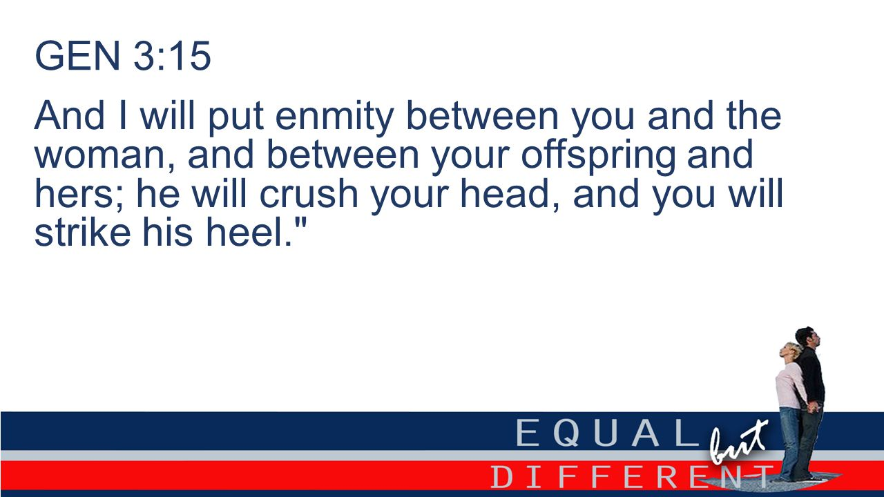 GEN 3:15 And I will put enmity between you and the woman, and between your offspring and hers; he will crush your head, and you will strike his heel.