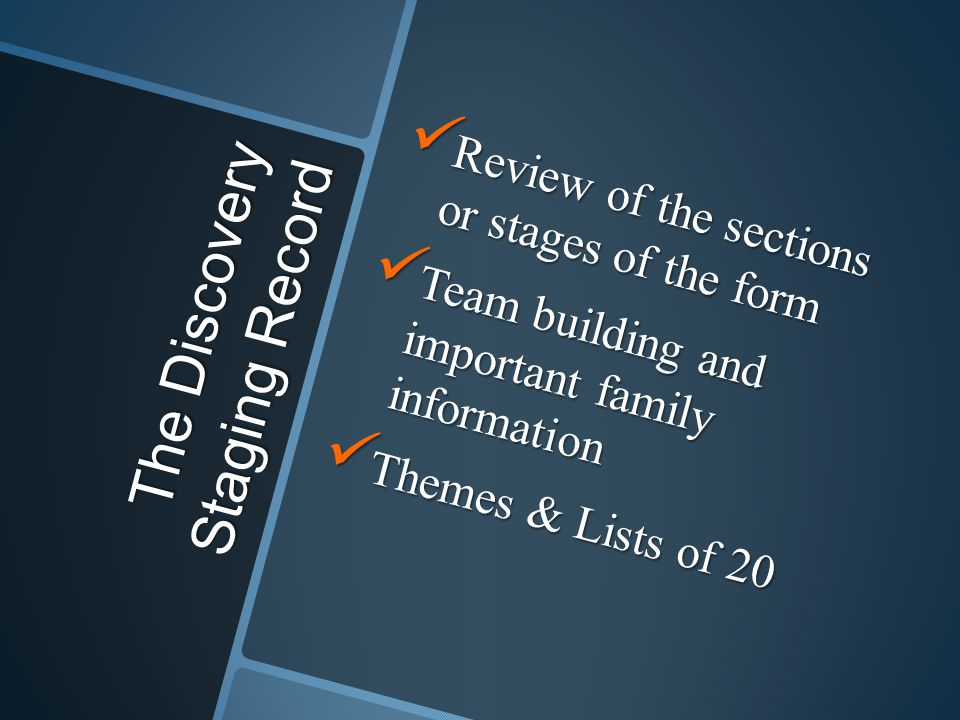 The Discovery Staging Record Review of the sections or stages of the form Review of the sections or stages of the form Team building and important family information Team building and important family information Themes & Lists of 20 Themes & Lists of 20