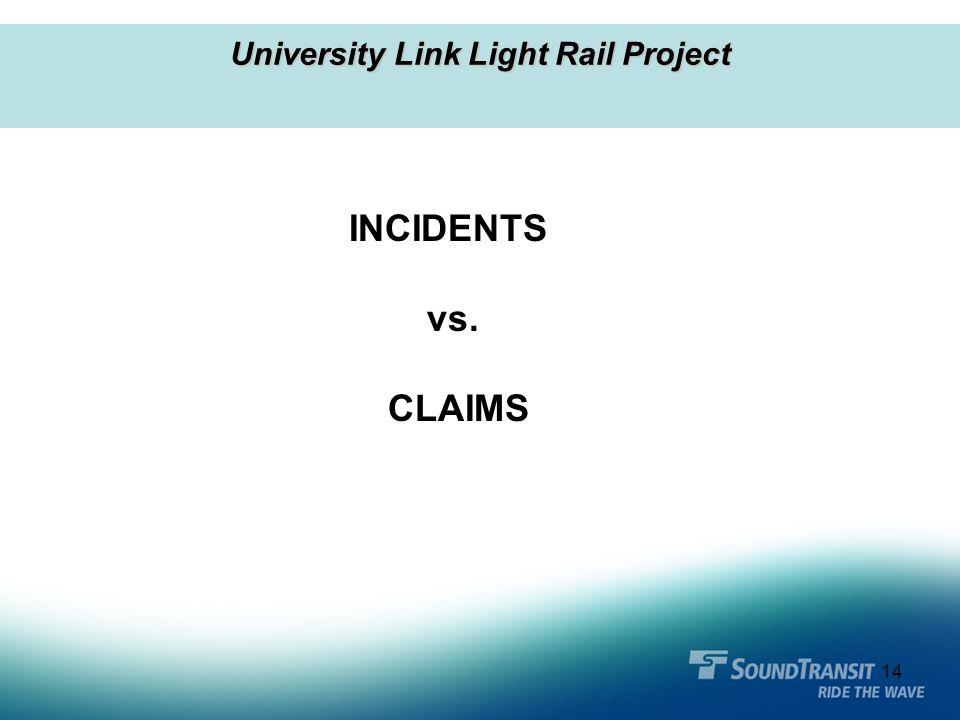 14 University Link Light Rail Project INCIDENTS vs. CLAIMS