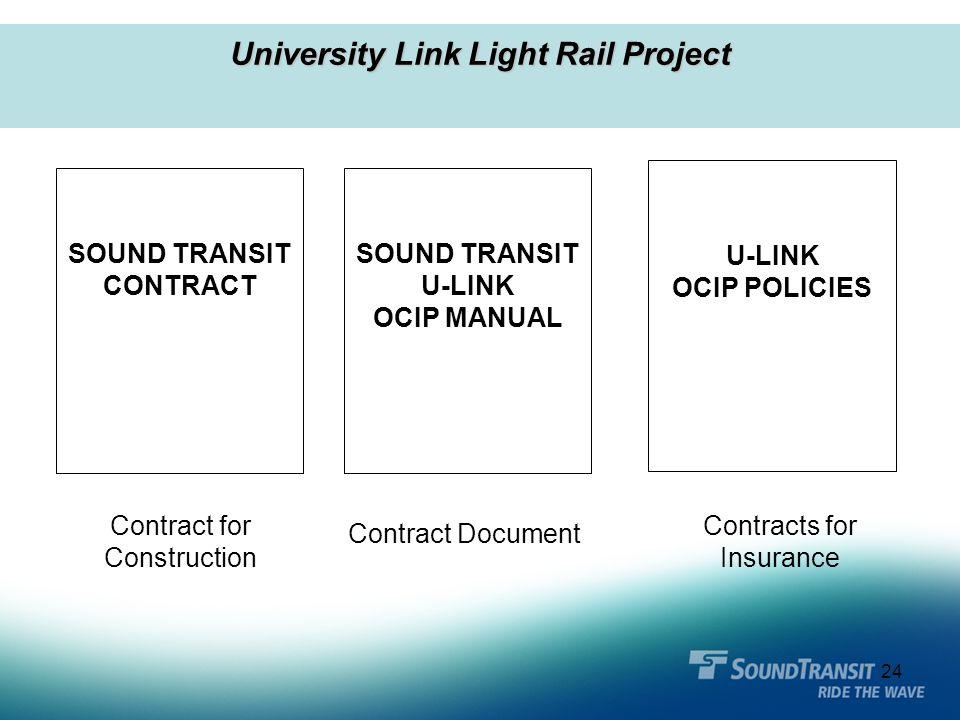 24 University Link Light Rail Project SOUND TRANSIT U-LINK OCIP MANUAL U-LINK OCIP POLICIES Contract for Construction SOUND TRANSIT CONTRACT Contract