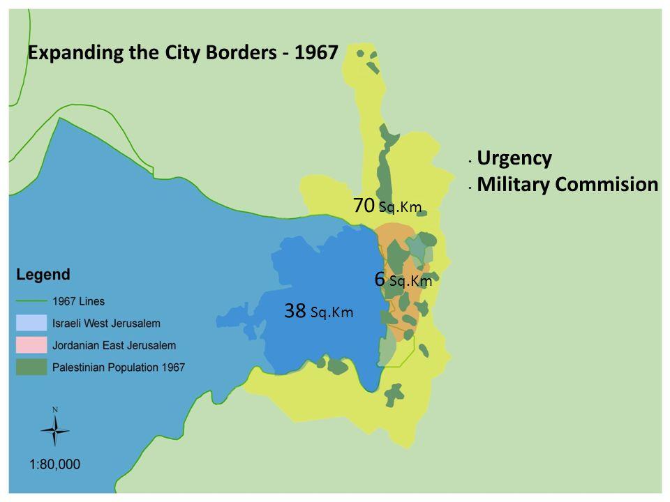 Expanding the City Borders - 1967 Urgency Military Commision 38 Sq.Km 70 Sq.Km 6 Sq.Km