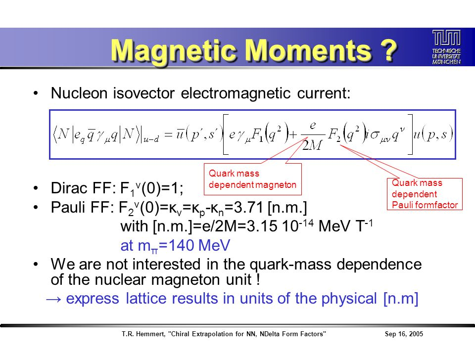 T.R. Hemmert, Chiral Extrapolation for NN, NDelta Form Factors Sep 16, 2005 Magnetic Moments .