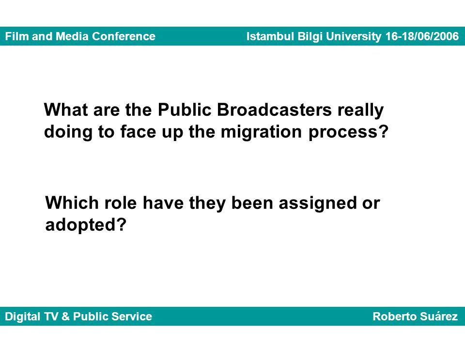 Film and Media Conference Istambul Bilgi University 16-18/06/2006 Digital TV & Public Service Roberto Suárez What are the Public Broadcasters really d