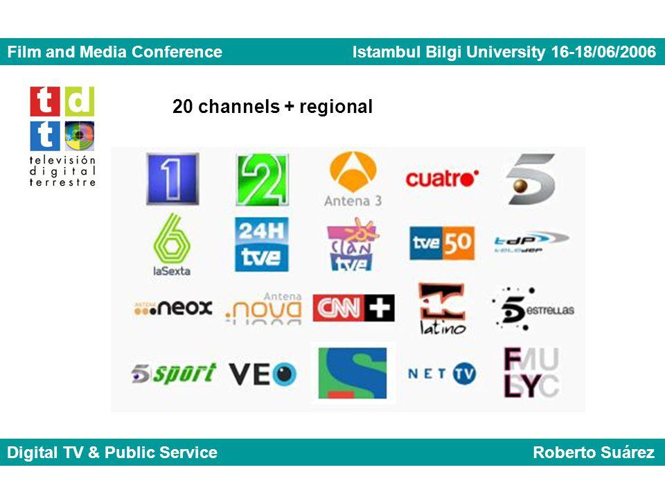 Film and Media Conference Istambul Bilgi University 16-18/06/2006 Digital TV & Public Service Roberto Suárez 20 channels + regional