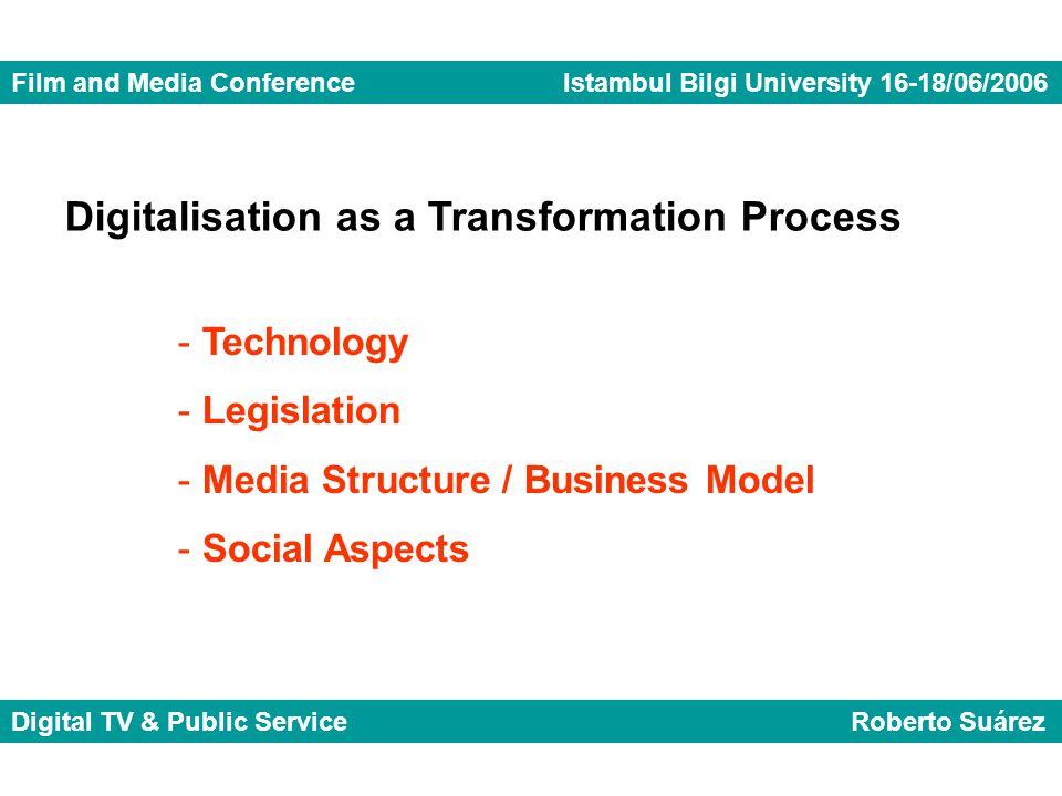 Film and Media Conference Istambul Bilgi University 16-18/06/2006 Digital TV & Public Service Roberto Suárez Digitalisation as a Transformation Process - Technology - Legislation - Media Structure / Business Model - Social Aspects
