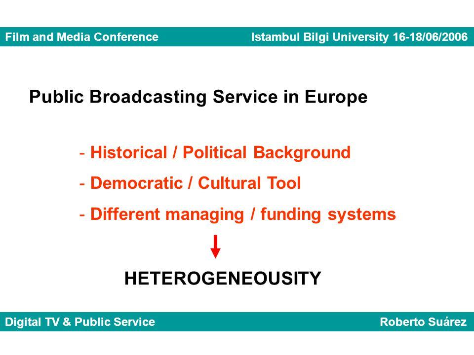 Film and Media Conference Istambul Bilgi University 16-18/06/2006 Digital TV & Public Service Roberto Suárez Public Broadcasting Service in Europe - H