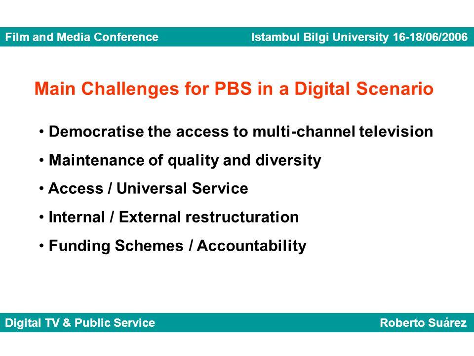 Film and Media Conference Istambul Bilgi University 16-18/06/2006 Digital TV & Public Service Roberto Suárez Democratise the access to multi-channel t