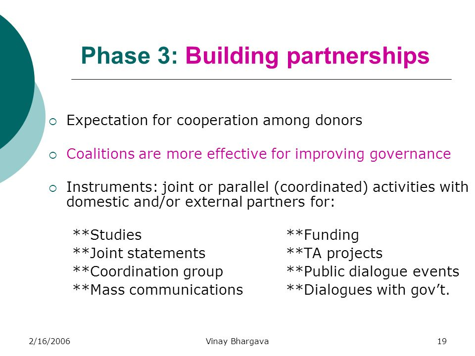 2/16/2006Vinay Bhargava19 Phase 3: Building partnerships  Expectation for cooperation among donors  Coalitions are more effective for improving gove