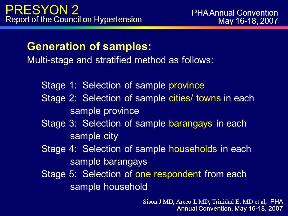 PRESYON 2 Report of the Council on Hypertension Generation of samples: Multi-stage and stratified method as follows: Stage 1: Selection of sample province Stage 2: Selection of sample cities/ towns in each sample province Stage 3: Selection of sample barangays in each sample city Stage 4: Selection of sample households in each sample barangays Stage 5: Selection of one respondent from each sample household PHA Annual Convention May 16-18, 2007 Sison J MD, Arceo L MD, Trinidad E.