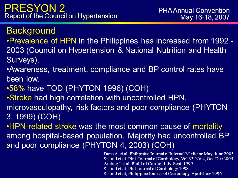 PRESYON 2 Report of the Council on Hypertension PHA Annual Convention May 16-18, 2007 The Council on Hypertension extends its gratitude to the following: PHA officers & board of directors PHA Research Committee Sanofi-Synthelabo Applied Marketing Research,Inc (AMAR)- Patricio Barretto, Alby Talag Phil.