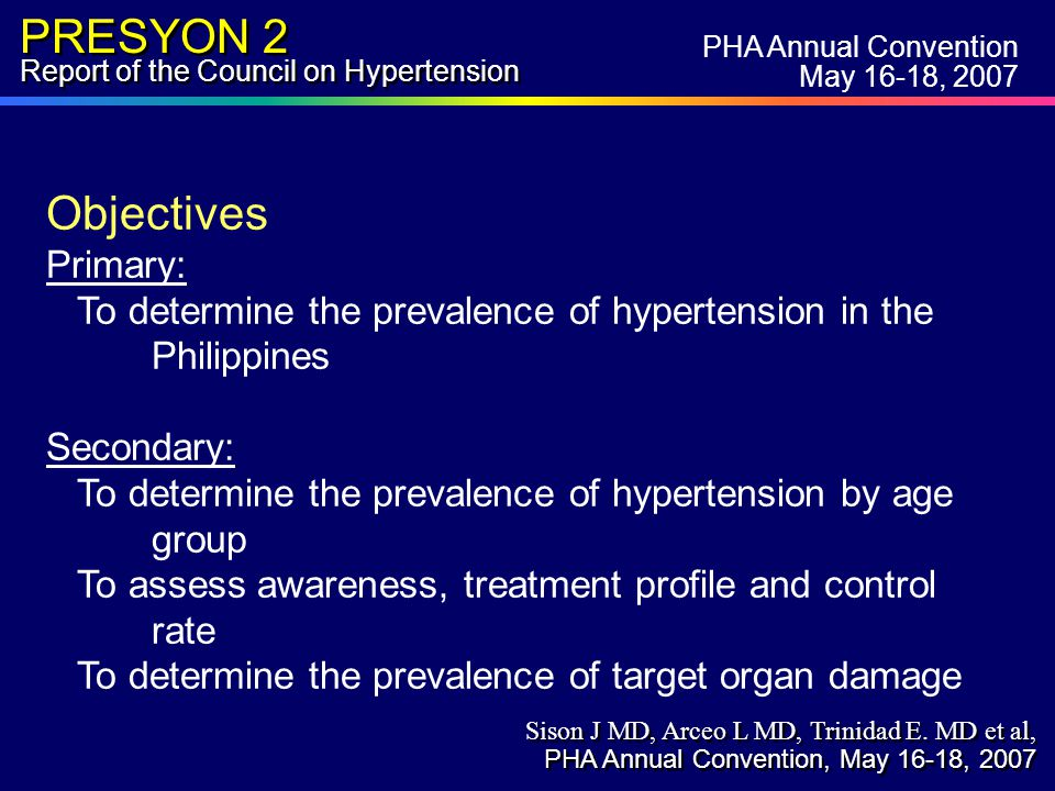 PRESYON 2 Report of the Council on Hypertension Incidence of Central Obesity, Adult Males (>18 yrs) By Regions % PHA Annual Convention May 16-18, 2007 Sison J MD, Arceo L MD, Trinidad E.