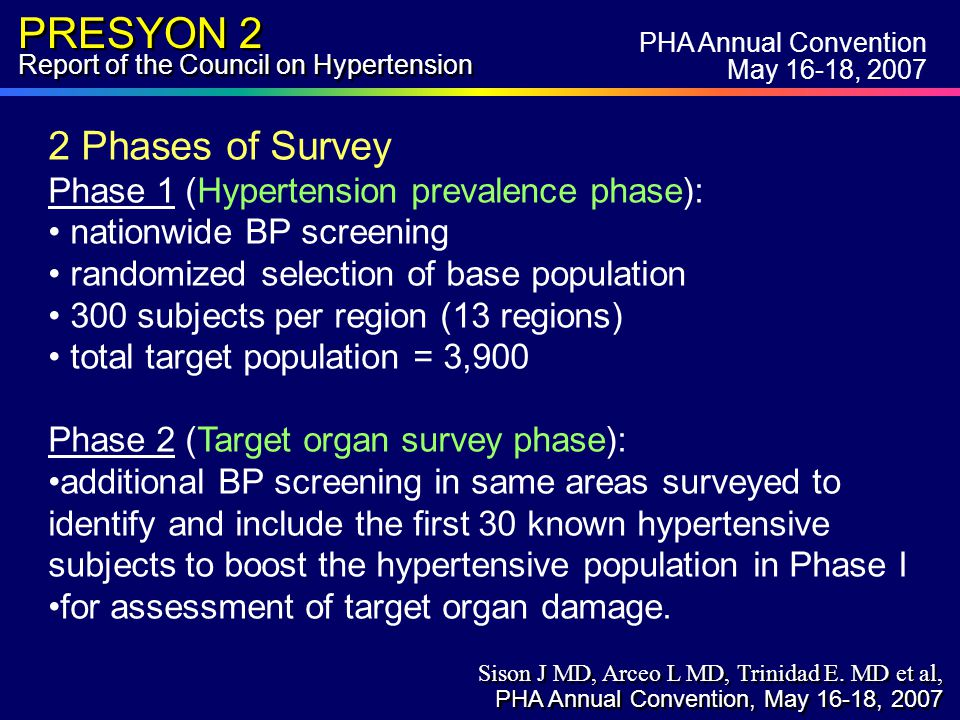 PRESYON 2 Report of the Council on Hypertension Central Obesity (Adult, >18 yrs ) By Age Groups Age group (yrs) 18-2930-3940-4950-5960-69>70 M155654 F101724253129 Central Obesity % PHA Annual Convention May 16-18, 2007 Sison J MD, Arceo L MD, Trinidad E.