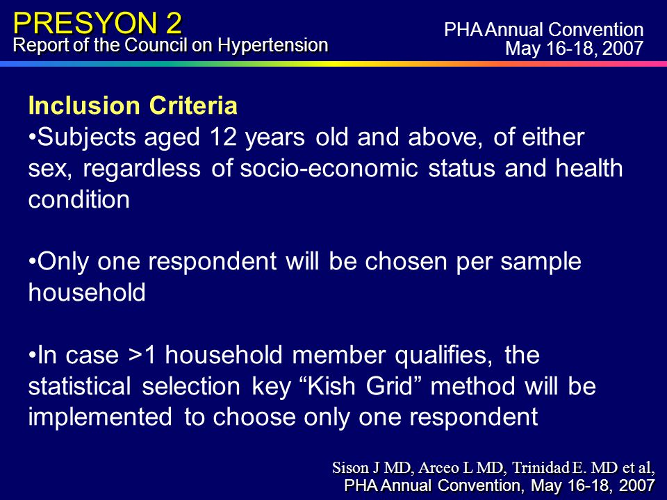 PRESYON 2 Report of the Council on Hypertension Inclusion Criteria Subjects aged 12 years old and above, of either sex, regardless of socio-economic status and health condition Only one respondent will be chosen per sample household In case >1 household member qualifies, the statistical selection key Kish Grid method will be implemented to choose only one respondent PHA Annual Convention May 16-18, 2007 Sison J MD, Arceo L MD, Trinidad E.