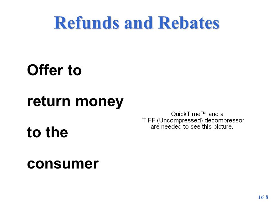 16-8 Refunds and Rebates Offer to return money to the consumer