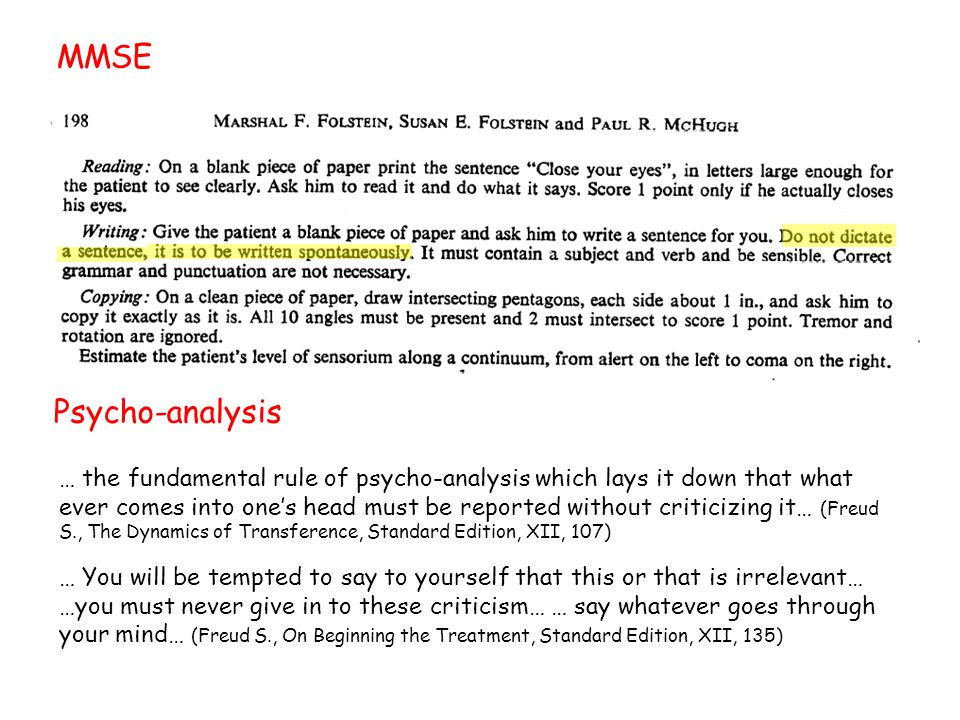 MMSE Psycho-analysis … the fundamental rule of psycho-analysis which lays it down that what ever comes into one's head must be reported without criticizing it… (Freud S., The Dynamics of Transference, Standard Edition, XII, 107) … You will be tempted to say to yourself that this or that is irrelevant… …you must never give in to these criticism… … say whatever goes through your mind… (Freud S., On Beginning the Treatment, Standard Edition, XII, 135)