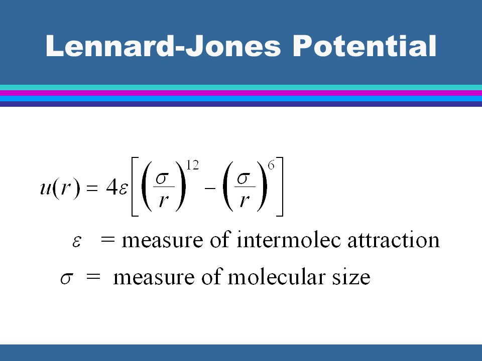 To Evaluate B 2V l Find  &  for selected gas l Substitute  &  into Lennard-Jones equation l Substitute L-J into expression for B l Integrate l With B 2V gas pressure can be calculated from virial eq.
