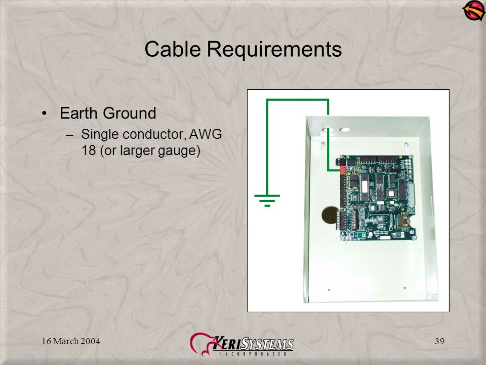 16 March 200439 Cable Requirements Earth Ground –Single conductor, AWG 18 (or larger gauge)
