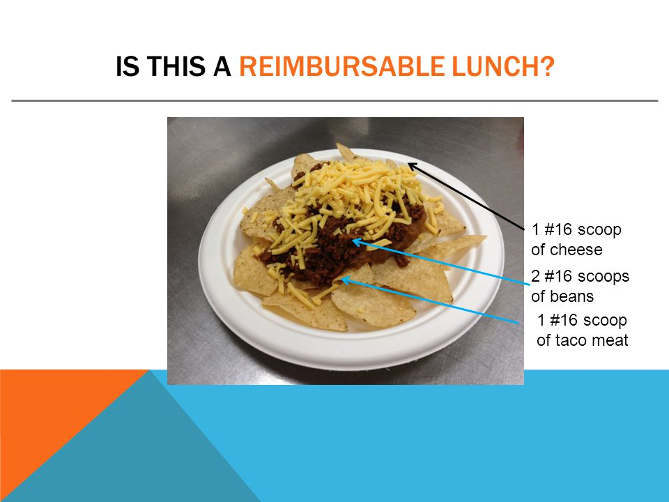 IS THIS A REIMBURSABLE LUNCH? 1 #16 scoop of taco meat 1 #16 scoop of cheese 2 #16 scoops of beans