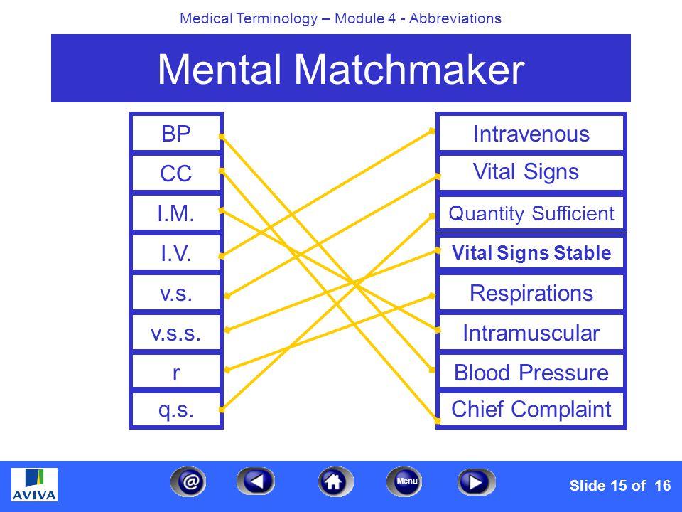 Menu Medical Terminology – Module 4 - Abbreviations Mental Matchmaker BP CC I.M. I.V. v.s. v.s.s. r q.s. Intravenous Quantity Sufficient Vital Signs S