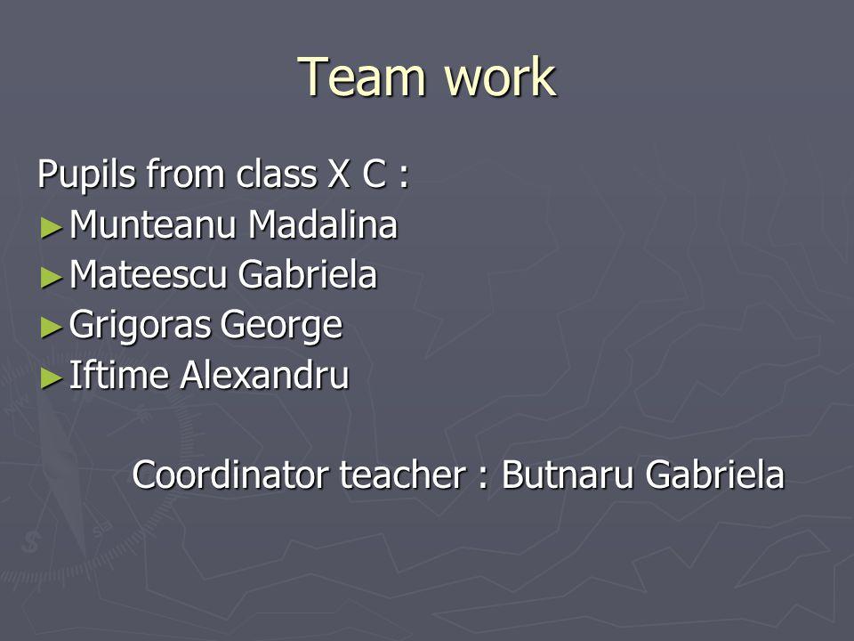 Team work Pupils from class X C : ► Munteanu Madalina ► Mateescu Gabriela ► Grigoras George ► Iftime Alexandru Coordinator teacher : Butnaru Gabriela Coordinator teacher : Butnaru Gabriela