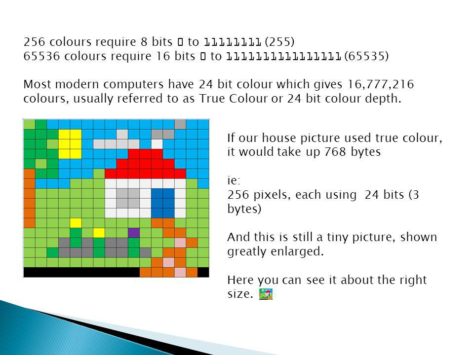 256 colours require 8 bits 0 to 11111111 (255) 65536 colours require 16 bits 0 to 1111111111111111 (65535) Most modern computers have 24 bit colour wh
