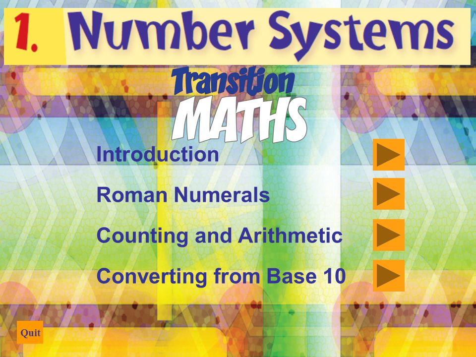 Quit Counting and Arithmetic Decimal or base 10 number system Origin: counting on the fingers Digit from the Latin word digitus meaning finger Base: the number of different digits including zero in the number system Example: Base 10 has 10 digits, 0 through 9 Binary or base 2: 2 digits, 0 and 1 Octal or base 8: 8 digits, 0 through 7 Hexadecimal or base 16: 16 digits, 0 – 9 and A – F