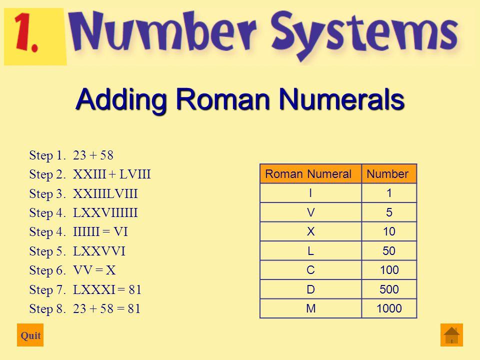 Quit 23 + 58 Adding Roman Numerals