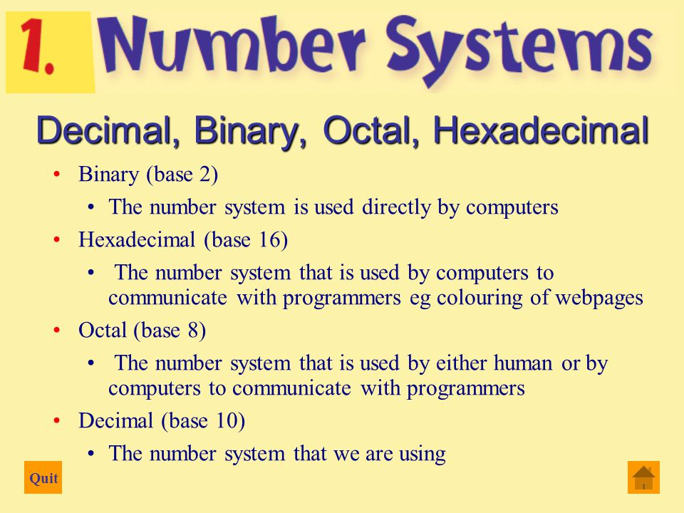 "Quit Counting and Arithmetic Decimal or base 10 number system Origin: counting on the fingers ""Digit"" from the Latin word digitus meaning ""finger"" Bas"