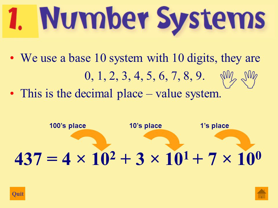 Quit Decimal, Binary, Octal, Hexadecimal Binary (base 2) The number system is used directly by computers Hexadecimal (base 16) The number system that is used by computers to communicate with programmers eg colouring of webpages Octal (base 8) The number system that is used by either human or by computers to communicate with programmers Decimal (base 10) The number system that we are using