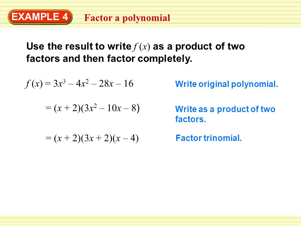 GUIDED PRACTICE for Examples 3 and 4 Divide using synthetic division.