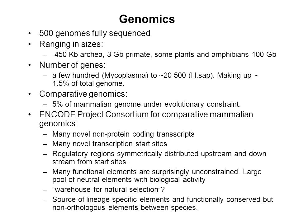Genomics 500 genomes fully sequenced Ranging in sizes: – 450 Kb archea, 3 Gb primate, some plants and amphibians 100 Gb Number of genes: –a few hundre