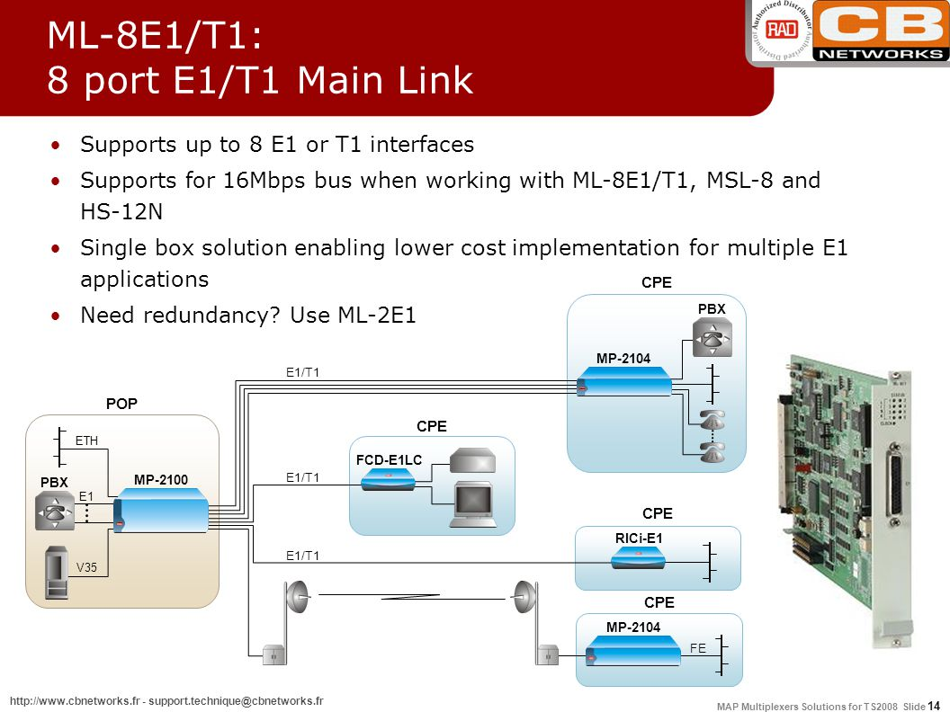 MAP Multiplexers Solutions for TS2008 Slide 14 http://www.cbnetworks.fr - support.technique@cbnetworks.fr ML-8E1/T1: 8 port E1/T1 Main Link Supports up to 8 E1 or T1 interfaces Supports for 16Mbps bus when working with ML-8E1/T1, MSL-8 and HS-12N Single box solution enabling lower cost implementation for multiple E1 applications Need redundancy.
