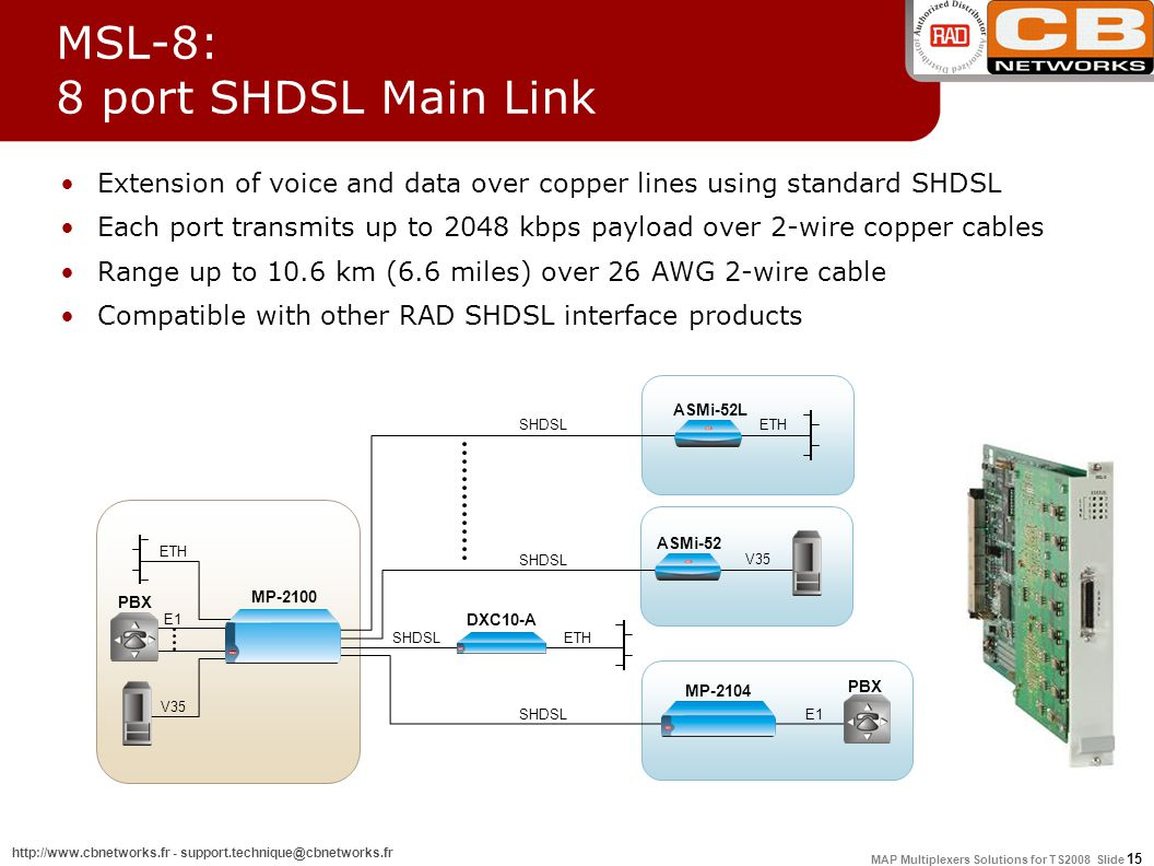 MAP Multiplexers Solutions for TS2008 Slide 15 http://www.cbnetworks.fr - support.technique@cbnetworks.fr MP-2104 MSL-8: 8 port SHDSL Main Link Extension of voice and data over copper lines using standard SHDSL Each port transmits up to 2048 kbps payload over 2-wire copper cables Range up to 10.6 km (6.6 miles) over 26 AWG 2-wire cable Compatible with other RAD SHDSL interface products E1 DXC10-A SHDSL PBX E1 ASMi-52 V35 ASMi-52L SHDSL ETH PBX V35 MP-2100