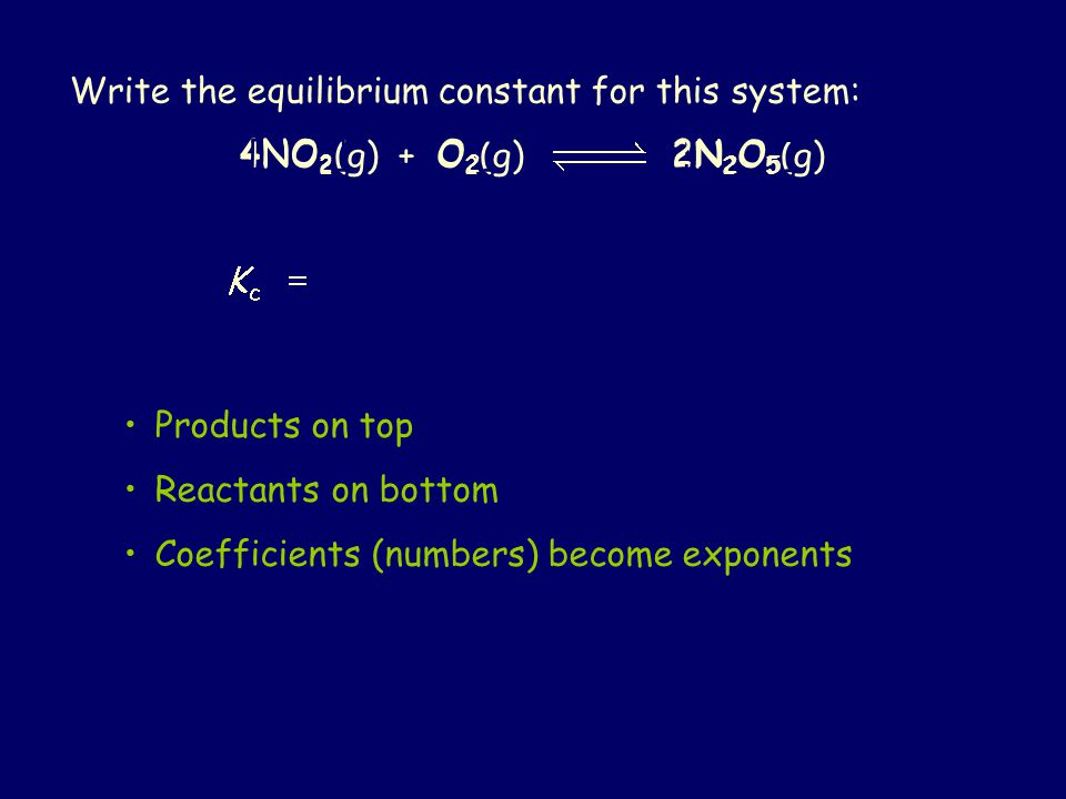 Write the equilibrium constant for this system: 4NO 2 (g) + O 2 (g) 2N 2 O 5 (g) Products on top Reactants on bottom Coefficients (numbers) become exponents [N2O5][N2O5] 24[NO 2 ][O2][O2]
