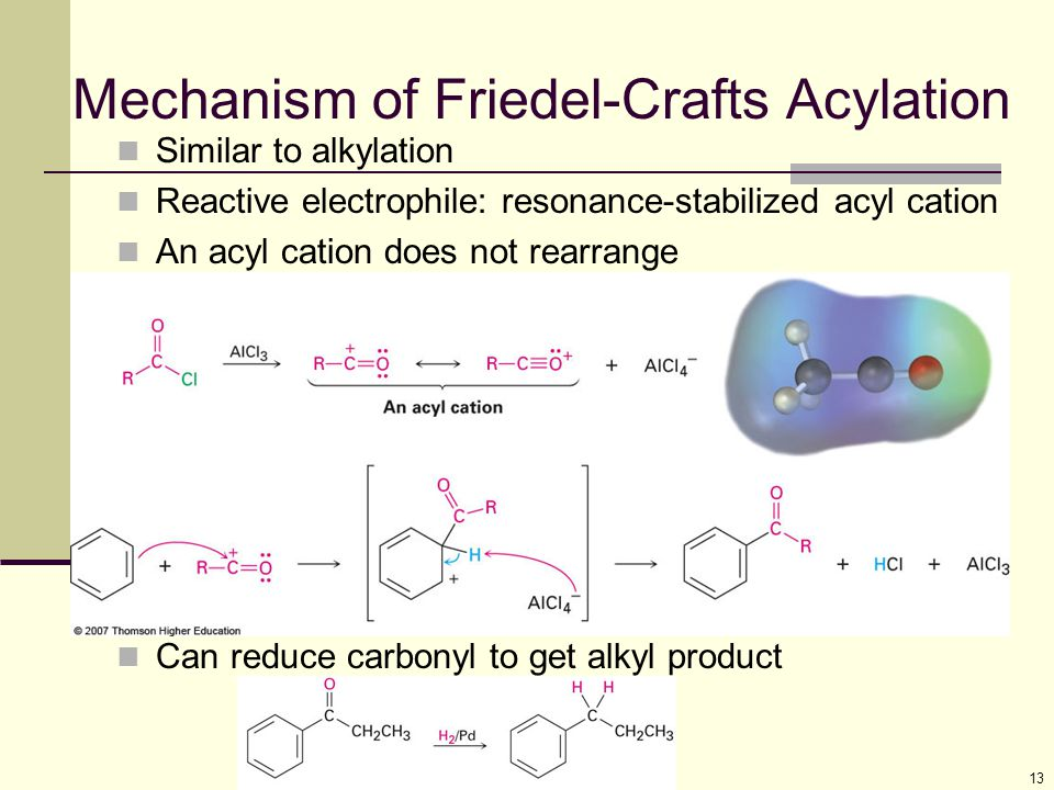 13 Mechanism of Friedel-Crafts Acylation Similar to alkylation Reactive electrophile: resonance-stabilized acyl cation An acyl cation does not rearran