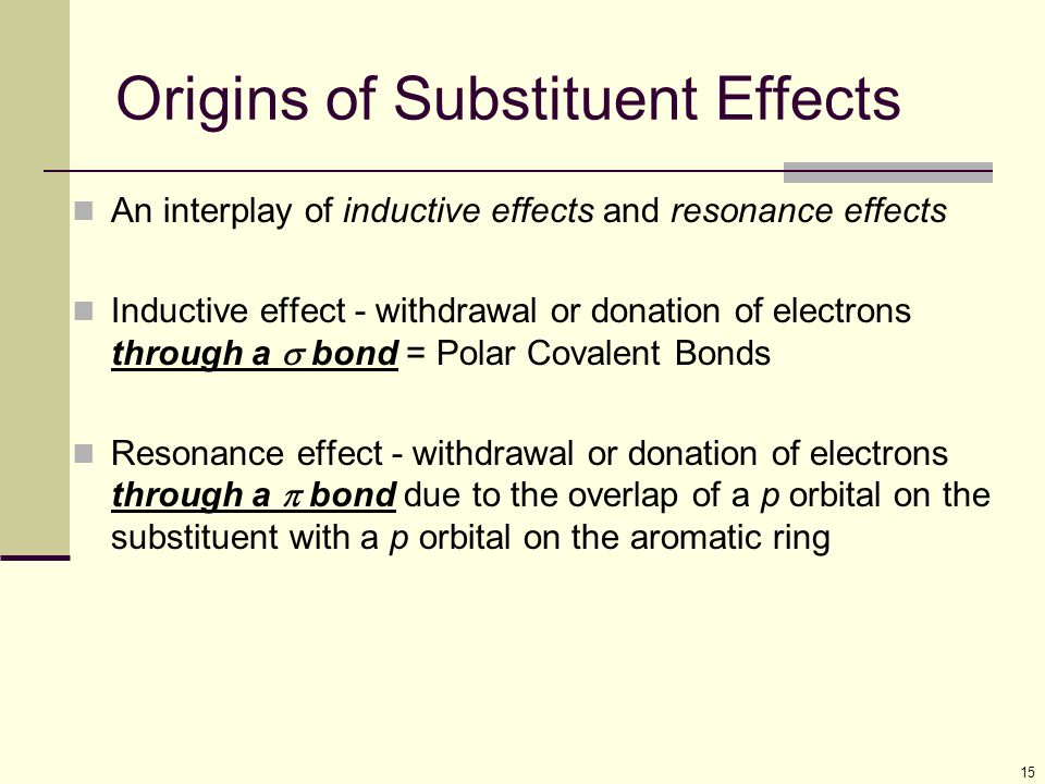 15 Origins of Substituent Effects An interplay of inductive effects and resonance effects Inductive effect - withdrawal or donation of electrons throu