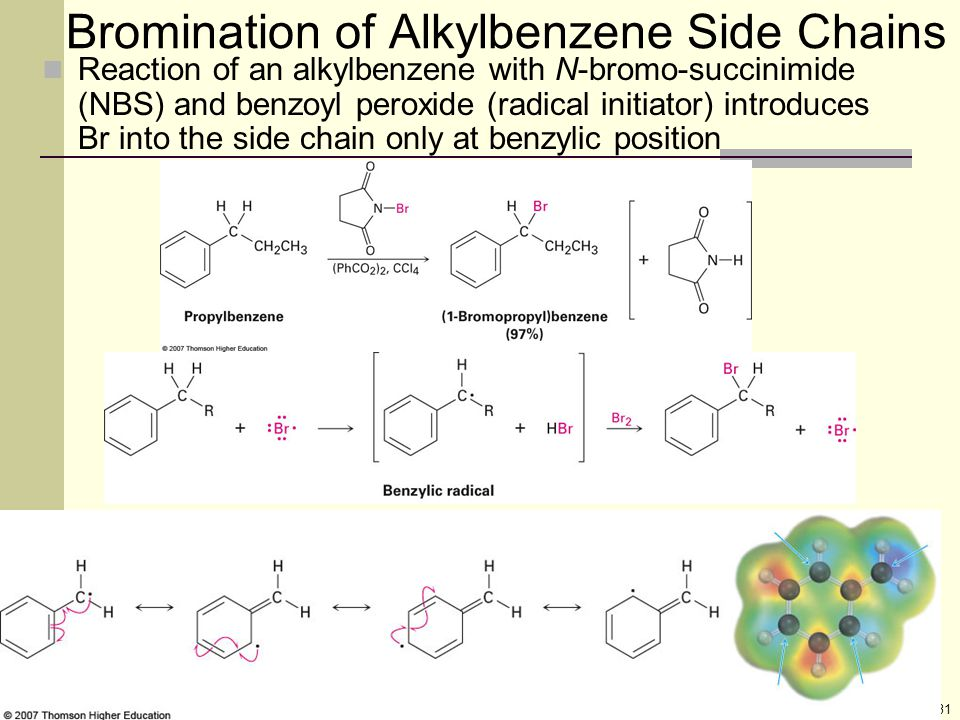 31 Bromination of Alkylbenzene Side Chains Reaction of an alkylbenzene with N-bromo-succinimide (NBS) and benzoyl peroxide (radical initiator) introdu
