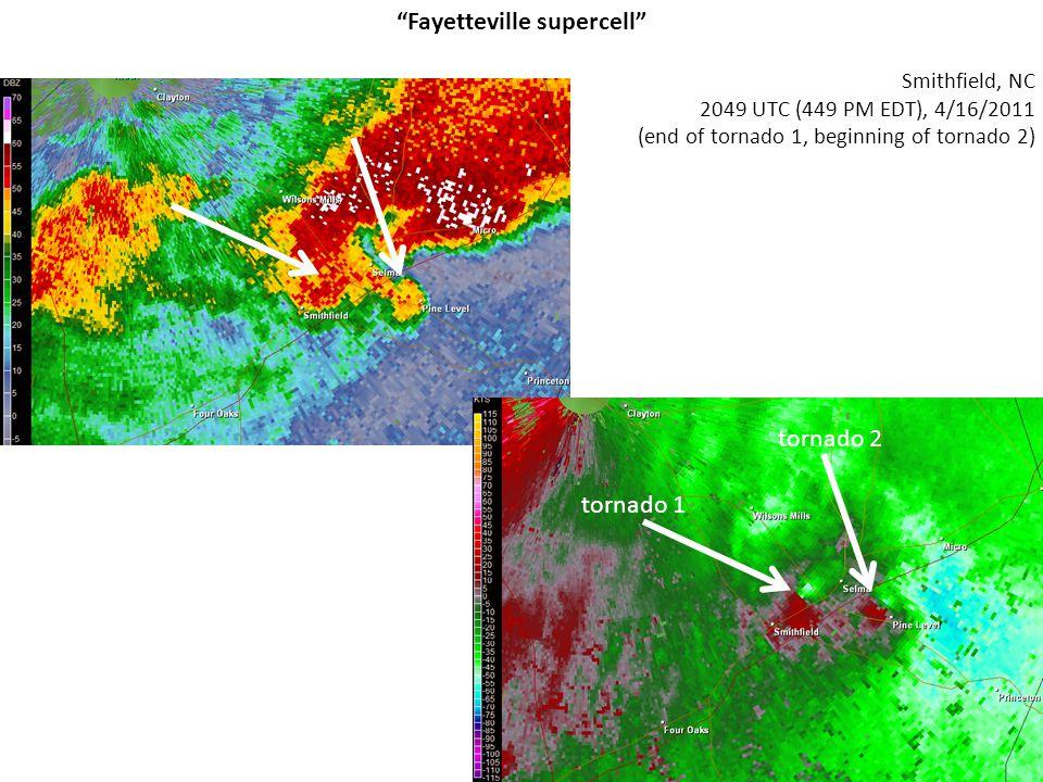 "Smithfield, NC 2049 UTC (449 PM EDT), 4/16/2011 (end of tornado 1, beginning of tornado 2) ""Fayetteville supercell"" tornado 1 tornado 2"
