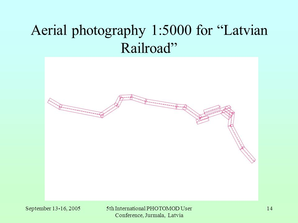 September 13-16, 20055th International PHOTOMOD User Conference, Jurmala, Latvia 14 Aerial photography 1:5000 for Latvian Railroad