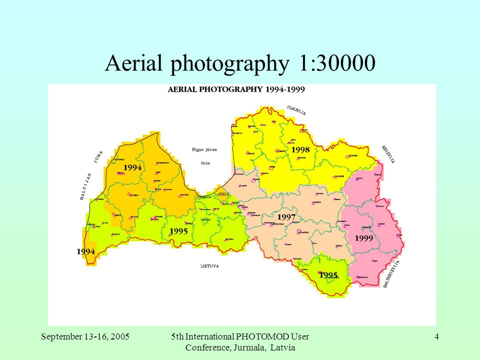 September 13-16, 20055th International PHOTOMOD User Conference, Jurmala, Latvia 4 Aerial photography 1:30000